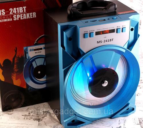 bocina bluetooth ms-241bt con luz led fm mp3