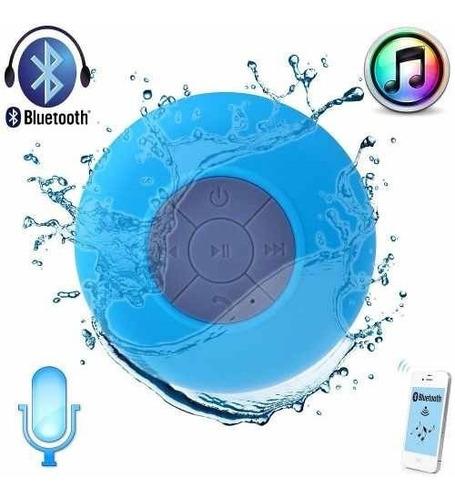 bocina contra agua bluetooth recargable waterproof azul