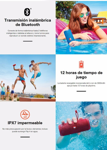 bocina jbl flip 3 bluetooth 12 hrs pila sumergible en agua
