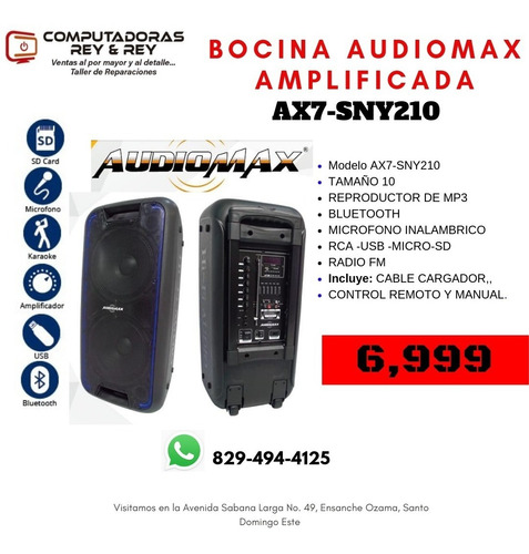 bocina recargable audiomax portátil 10 pulgadas y micrófono