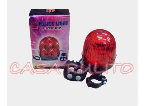 bocina sirena bicicleta 4 sonidos luz roja leds - racer