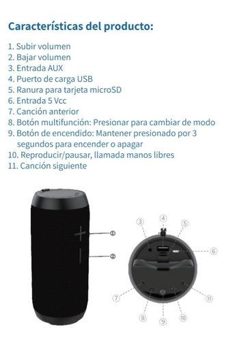 bocina - tedge bluetooth 10w inalámbrica resistente al agua