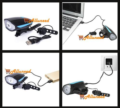 bocina timbre 140db y linterna luz led recargable bicicleta