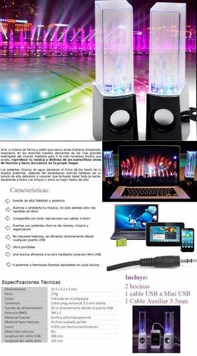 bocinas parlantes pc laptop celular show de agua luz led usb