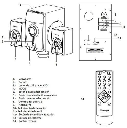bocinas vorago 5.1 spb-500 +bluetooth +usb +usb +sd +control