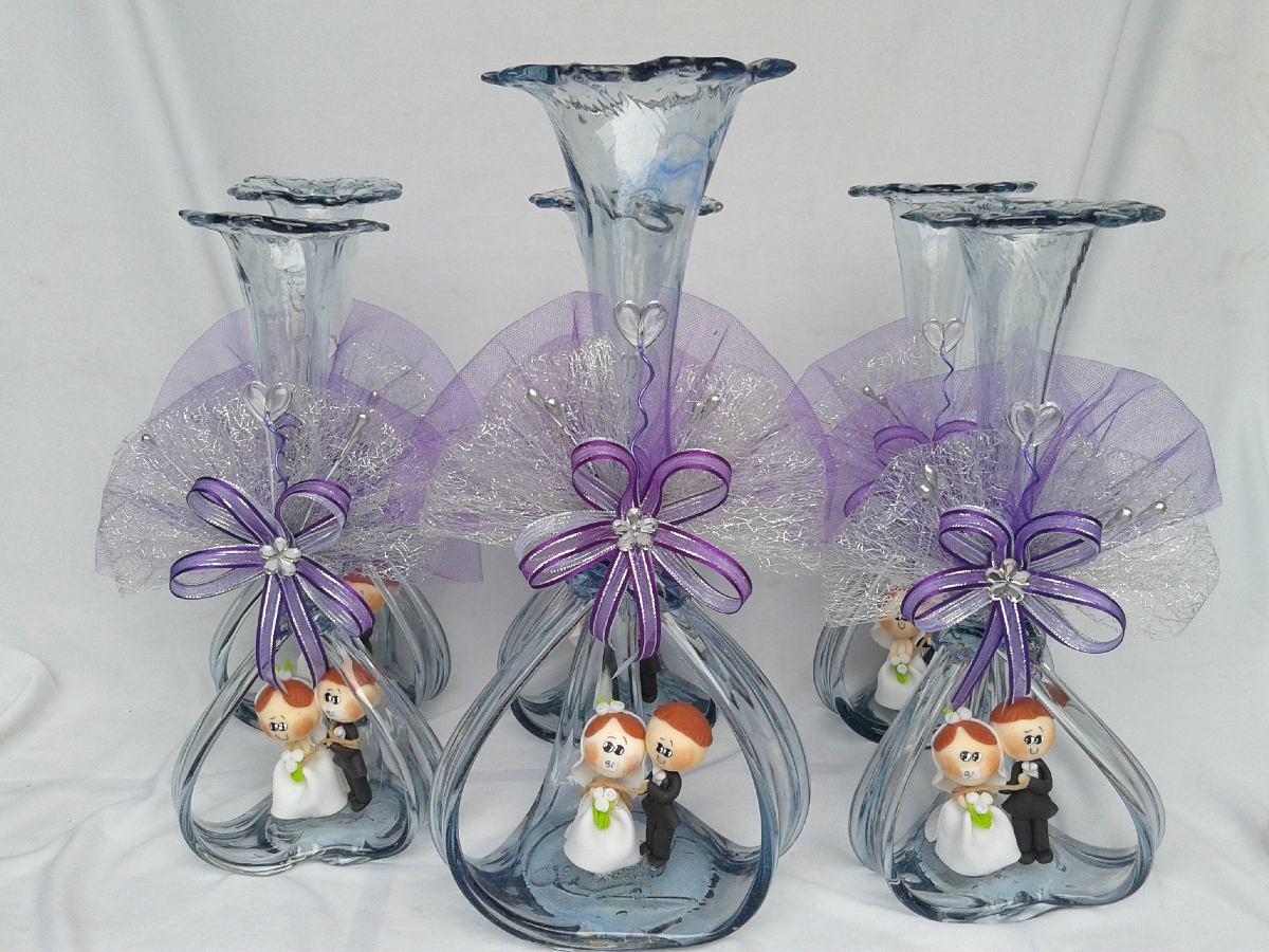 Florero vidrio soplado boda centro de mesa en for Cristal mesa