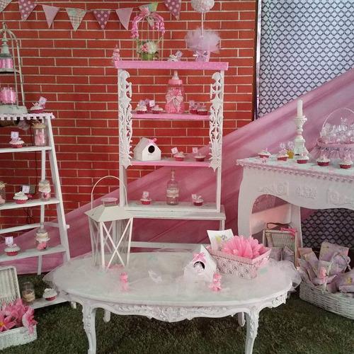 boda vintage muebles barra postre pastel baby shower