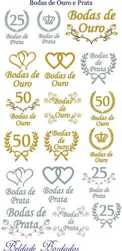 bodas de ouro e prata - coleção de matriz de bordado