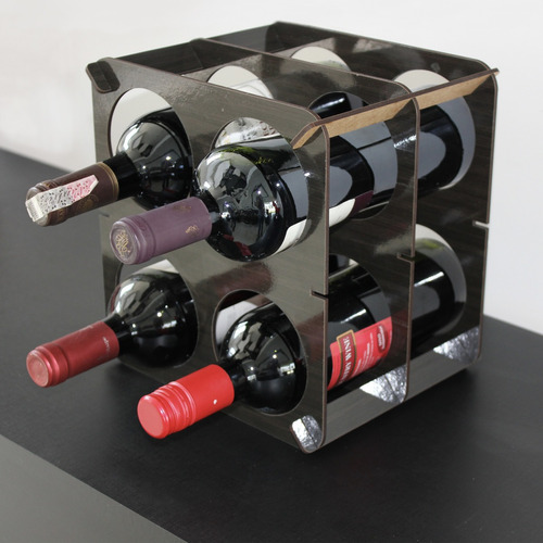 bodega para cuatro botellas vino color chocolate