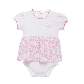 f0f6bb744 Body Bebê Menina Flores Com Aplique De Brilho 100% Algodão
