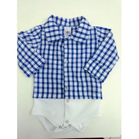f1bc0bf55e0 Body Bebe Camisa Xadrez P M G Manga Longa
