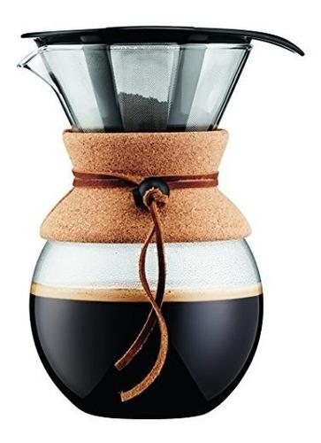 bodum coffee maker, vierta la cafetera con filtro permanente