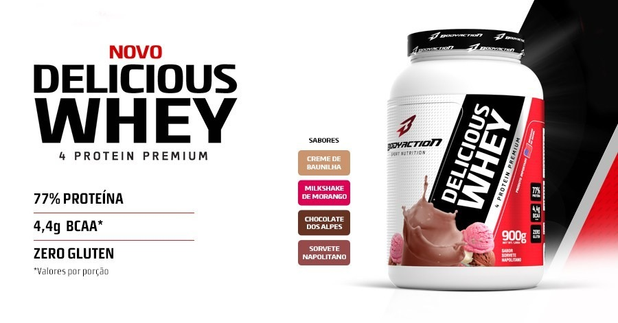 b2e28c724 Delicious Whey Protein 900g - Body Action - R  67