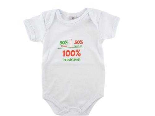 body bebê 100% irresistível tam.0-3 meses piu blu