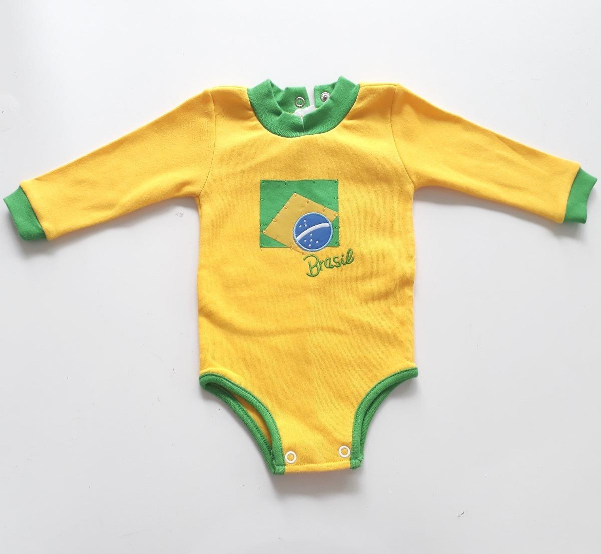 fe3791cb49 Body Bebê Brasil C  Abertura Nas Costas Manga Longa- Bella B - R  39 ...