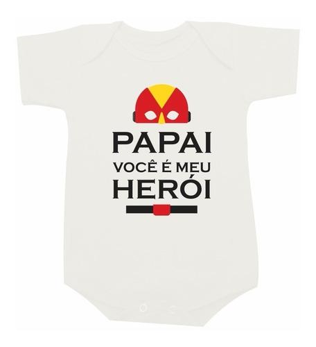 body bebê camiseta infantil papai você é meu heroi dia dos