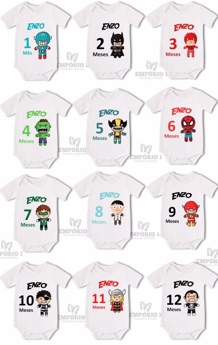 Body Bebê Kit Mesversário 12 Bodys - Super Heróis Infantis - R  169 ... ca04d9e29c04d