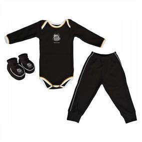 9be6ef95e Body Bebê Longo + Calça + Pantufas Santos F C - Torcida Baby