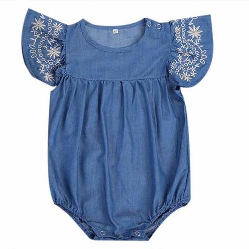 body bebê menina infantil tipo jeans bordado fofo festa