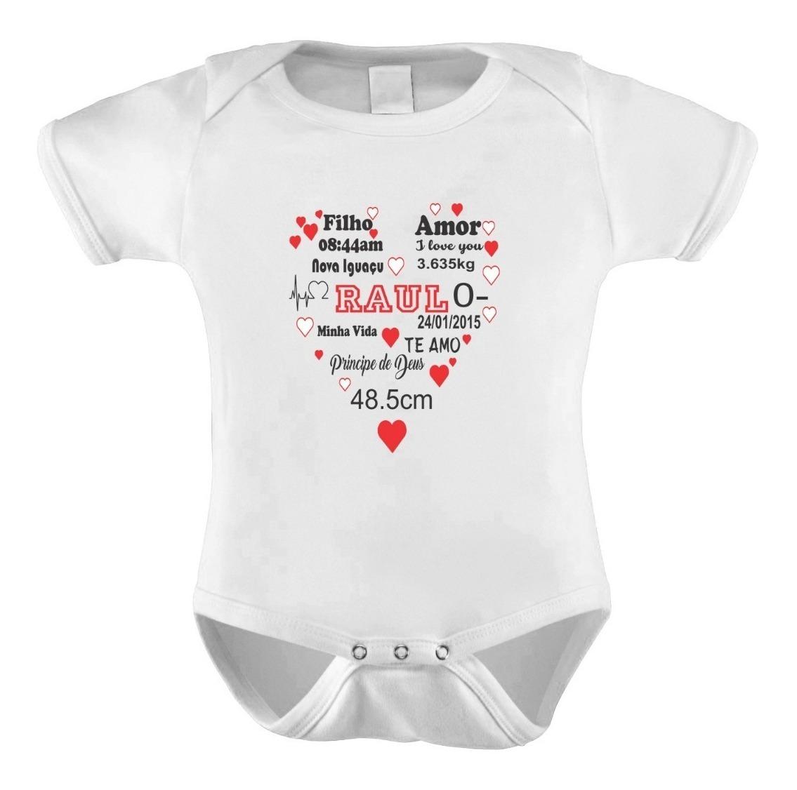 Body Bebê Personalizado Frases Dados Nascimento Recordação