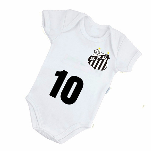 body bebe time de futebol santos body menino branco e preto