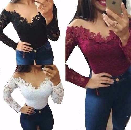 body blusa feminina manga longa comprida renda inverno 2017