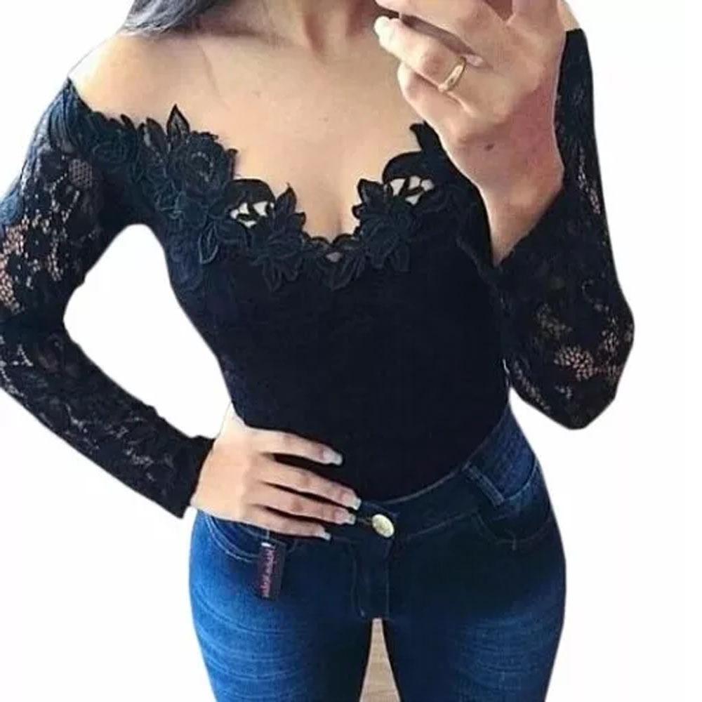 4590c7a27 body blusa feminina manga longa comprida renda oferta 2019. Carregando zoom.