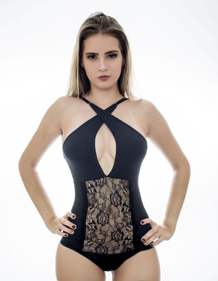 979efe514 Body Blusa Femins Luxo Lingerie Renda Conforto 2 Em 1 - R  19