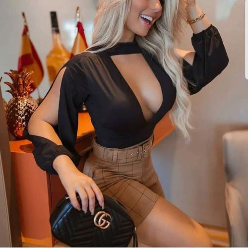 body blusa manga aberta gola alta decotado feminina outono