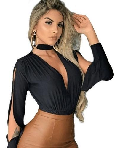 body blusa manga longa aberta choker decote roupa feminina