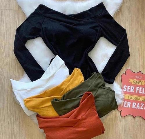 body blusa manga longa ciganinha ombro roupas femininas