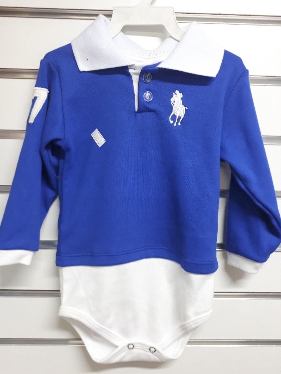fe994b0c1d body camisa polo manga longa bebê azul. Carregando zoom.