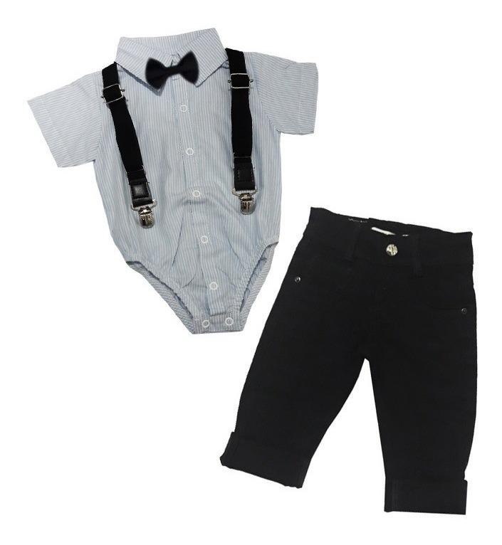 bcdfd0707390 Body Camisa Social Menino Bebe Calça Preta 2 Anos Gravata