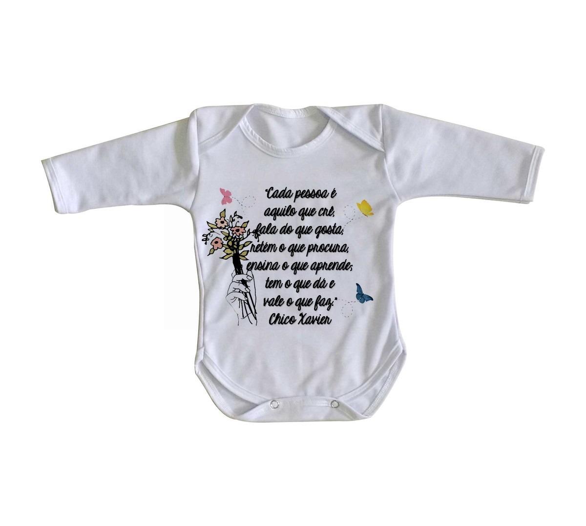 Body Criança Roupa Bebê Frase Chico Xavier Espirita Cada Pes