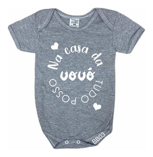 body de bebê infantil cinza tudo posso na casa da vovó bb03
