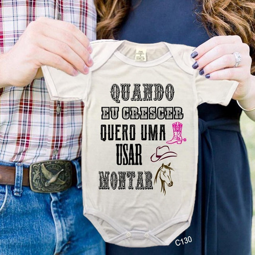 body de bebês quero montar a cavalo country tshirt