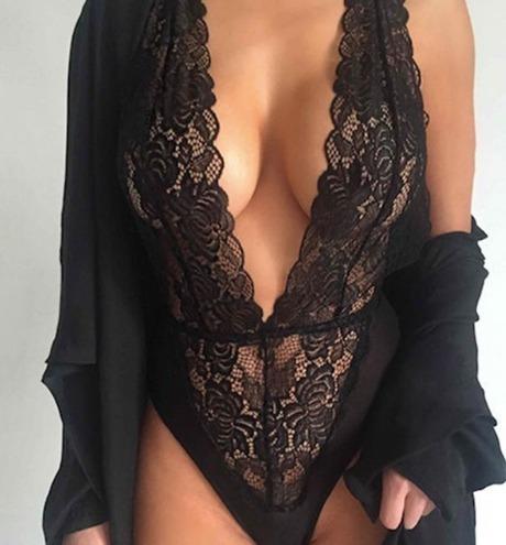 body de encaje negro sexy abierto erotica extra grande