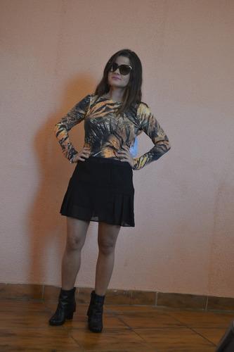 body estampa leopardo com manga longa e babado papilloo