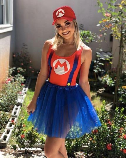 Body Fantasia Feminino Mario Bros Luigi Carnaval 2018 - R  27 6ff13a3b3ae