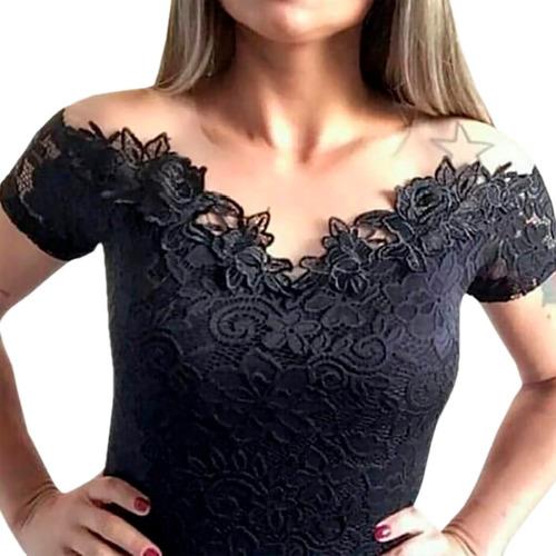 body feminino bruna marquezine manga curta renda tule