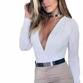 19e5b4679a Body Feminino Bruna Marquezine Manga Longa Com Bojo E Decote