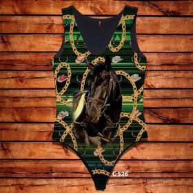 Body Feminino Cavalo Preto Correntes Estampa Country