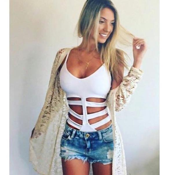 9513b0289 Body Feminino Com Recorte Lateral Panicat Blusa Verão 2016 - R  32 ...