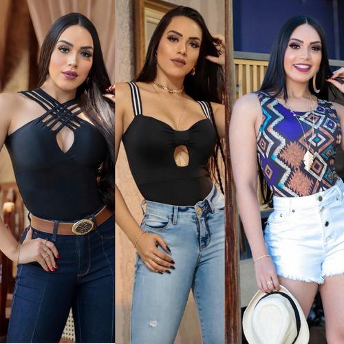 body feminino conjunto com 3 modelos diferentes