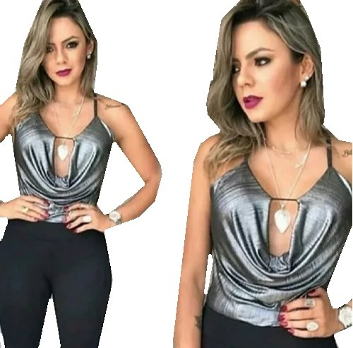 eee4d98ac5 Body Feminino Decote Profundo Metalizado Instagram Blogueira - R  36 ...