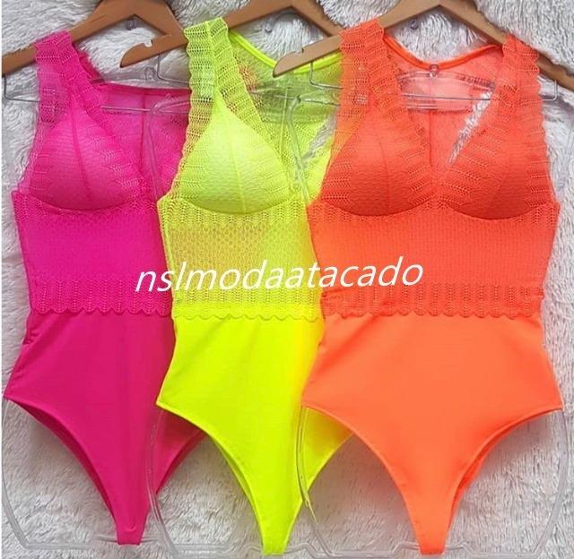 c22c7859e Body Feminino Em Renda Delicada Transparente Neon Carnaval - R  55 ...