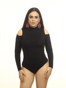 b5c39bfe6 Body Feminino Manga Curta E Longa Collant Ombro Cavado Blusa