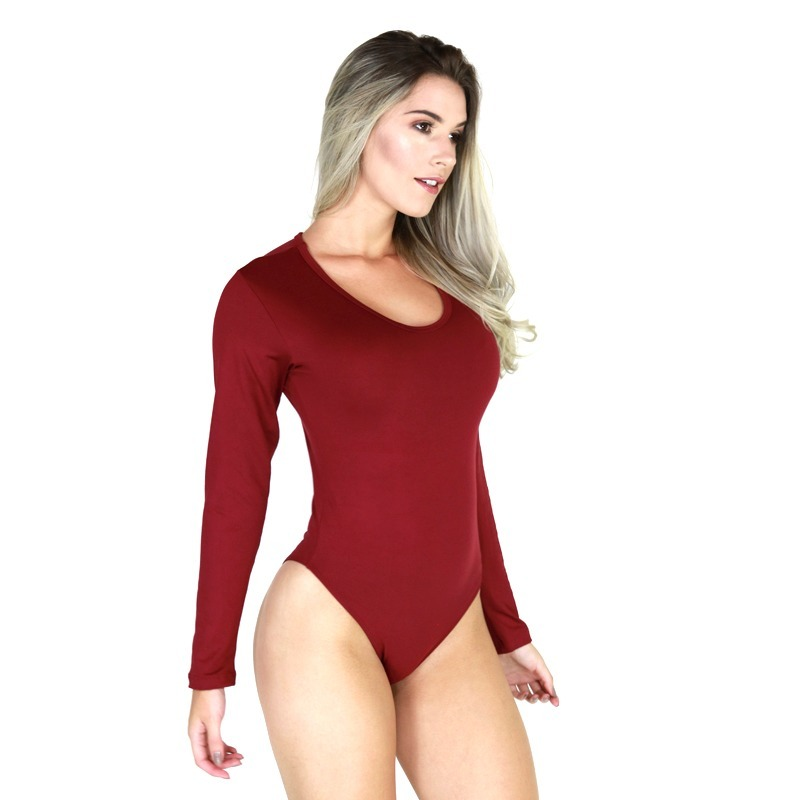88e81e1ad body feminino manga longa costa fechada collant blusa 040. Carregando zoom.