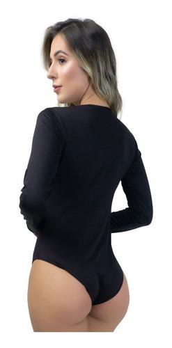 body feminino manga longa costa fechada collant blusa