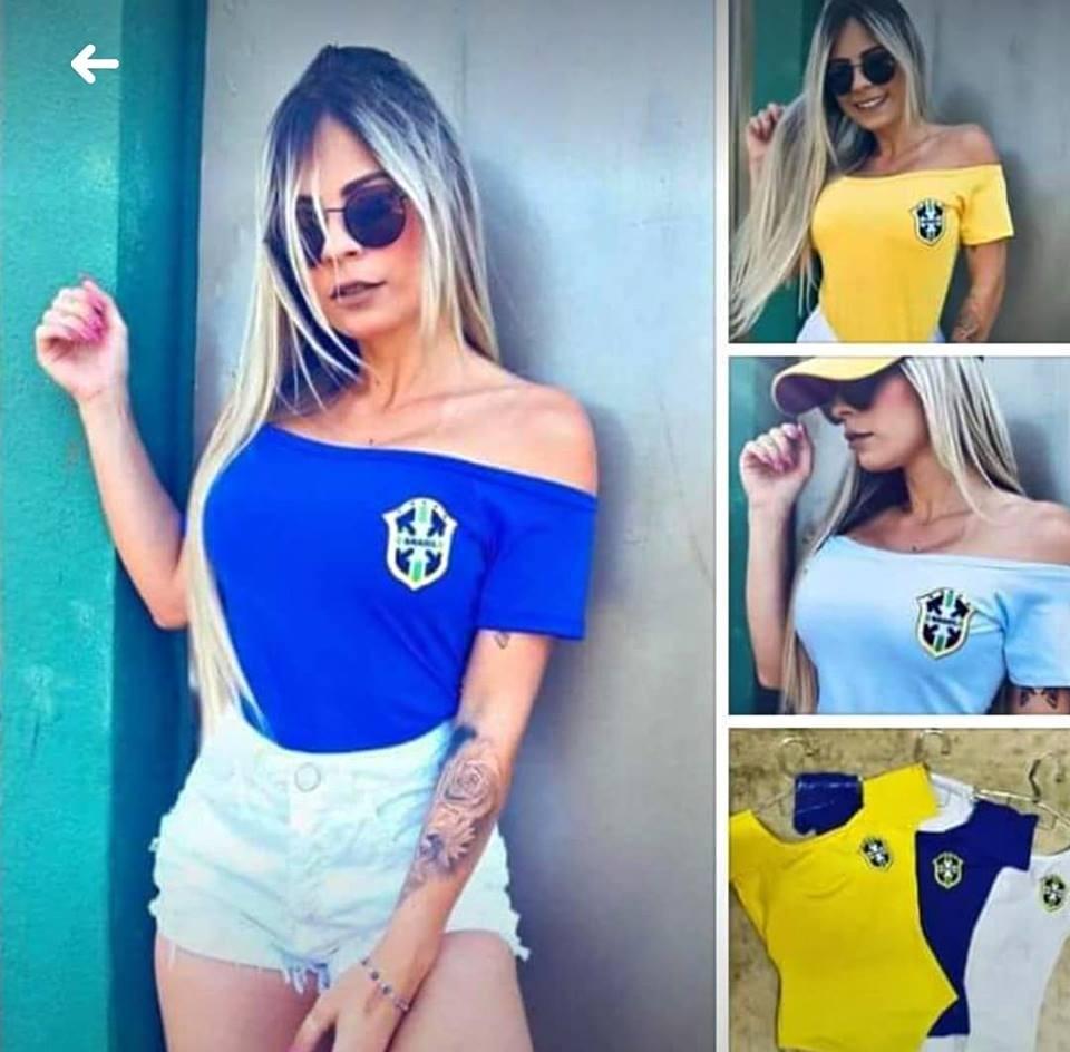 121566293 Body Feminino Seleção - Brasil Copa Do Mundo (frete 12
